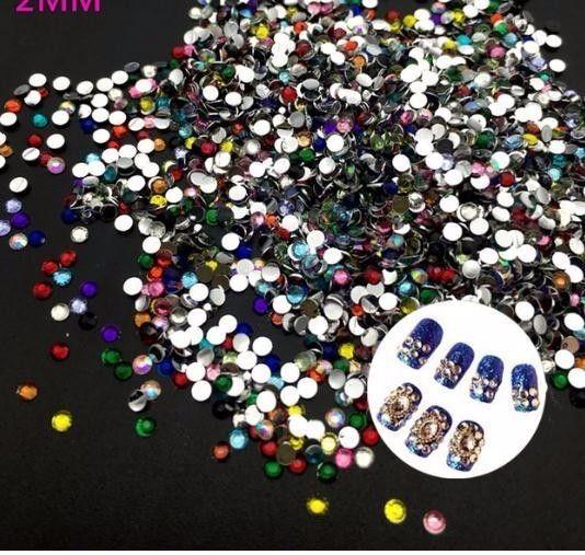 2mm Mix Renk 3d Nail Art İpuçları Düz Rhinestones Diy Takı 3d Tırnak Dekorasyon Matkap