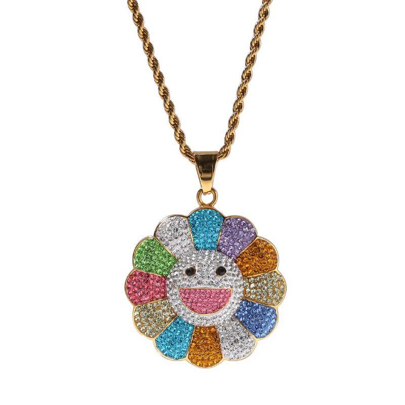 مثلج خارج حجر الراين كامل موراكامي زهرة الشمس الذهب بالفضة سحر الرجال الهيب هوب مجوهرات هدية