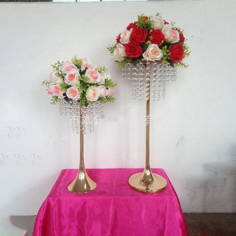 Titulaire de fleur de mariage de placage à l'or avec colonne de fleurs de strass pour la route de mariage de mariage de mariage de style européen
