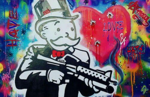 Alec Monopoly Graffiti-Kunst-Liebe-Gewehr Mann Hauptdekor handgemaltes HD-Druck-Ölgemälde auf Leinwand-Wand-Kunst-Leinwandbilder 200204