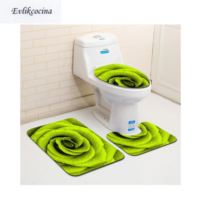 Ücretsiz Kargo 3adet Yeşil Çiçek Banyo Banyo Halı Tuvalet U Tipi Banyo Paspasları Seti Sigara Pad Tapis Salle De Bain alfombra Bano SH190919 Kayma