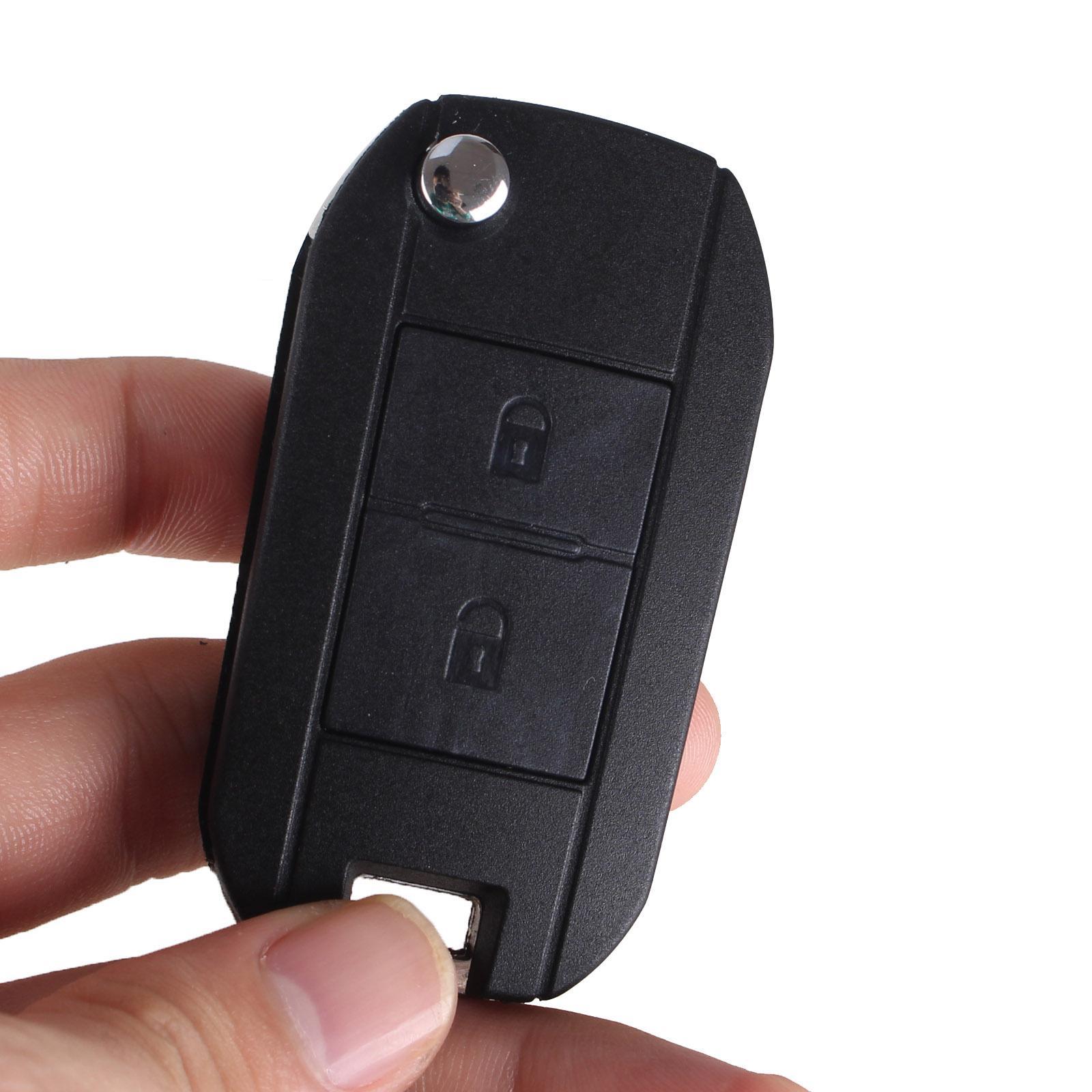 Peugeot 407 2 botón cáscara de la llave con HU83 lámina