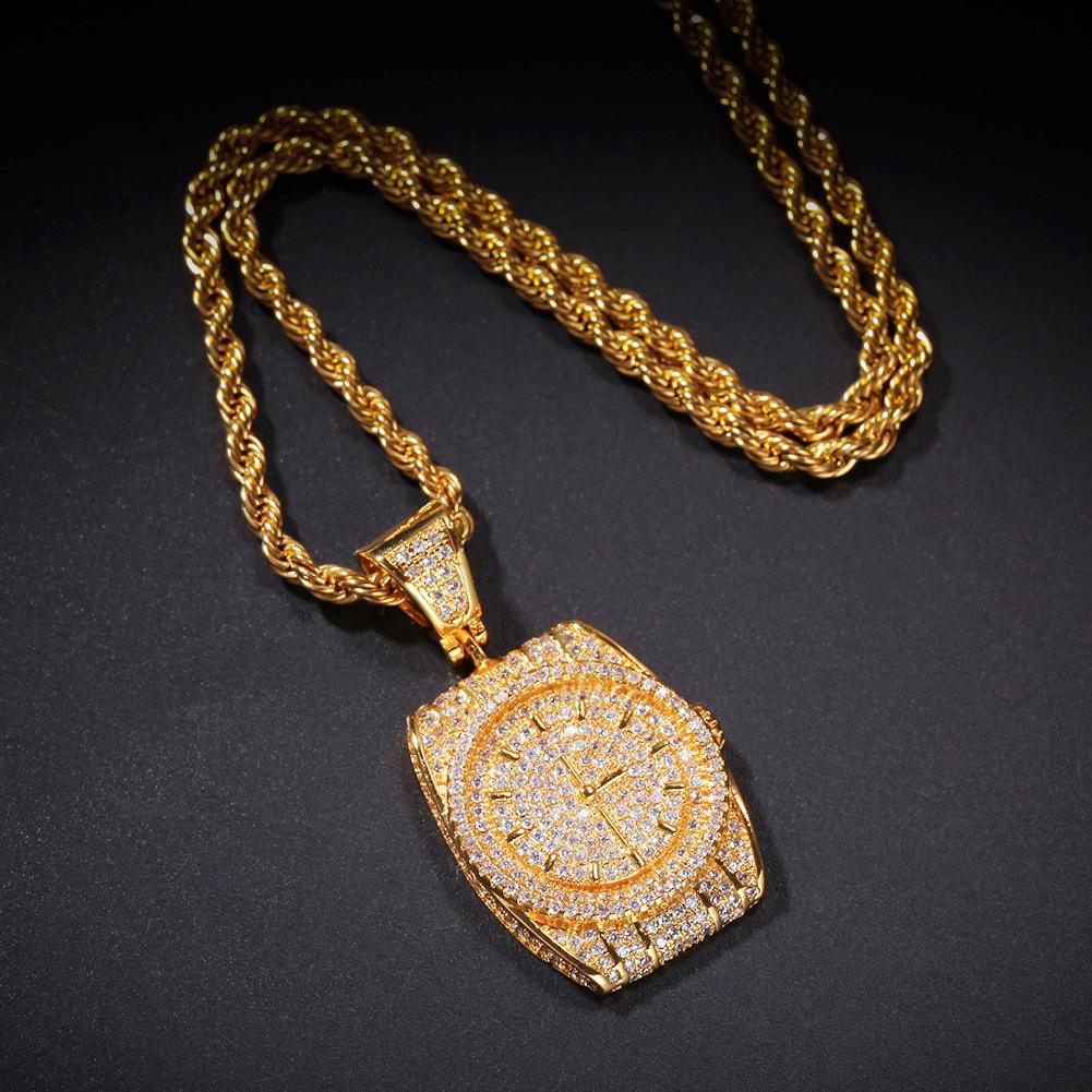 Wholesale-Zircon Dial Pendant Watch clock Pendant Hip Hop Cuban twist chain In Europe and America