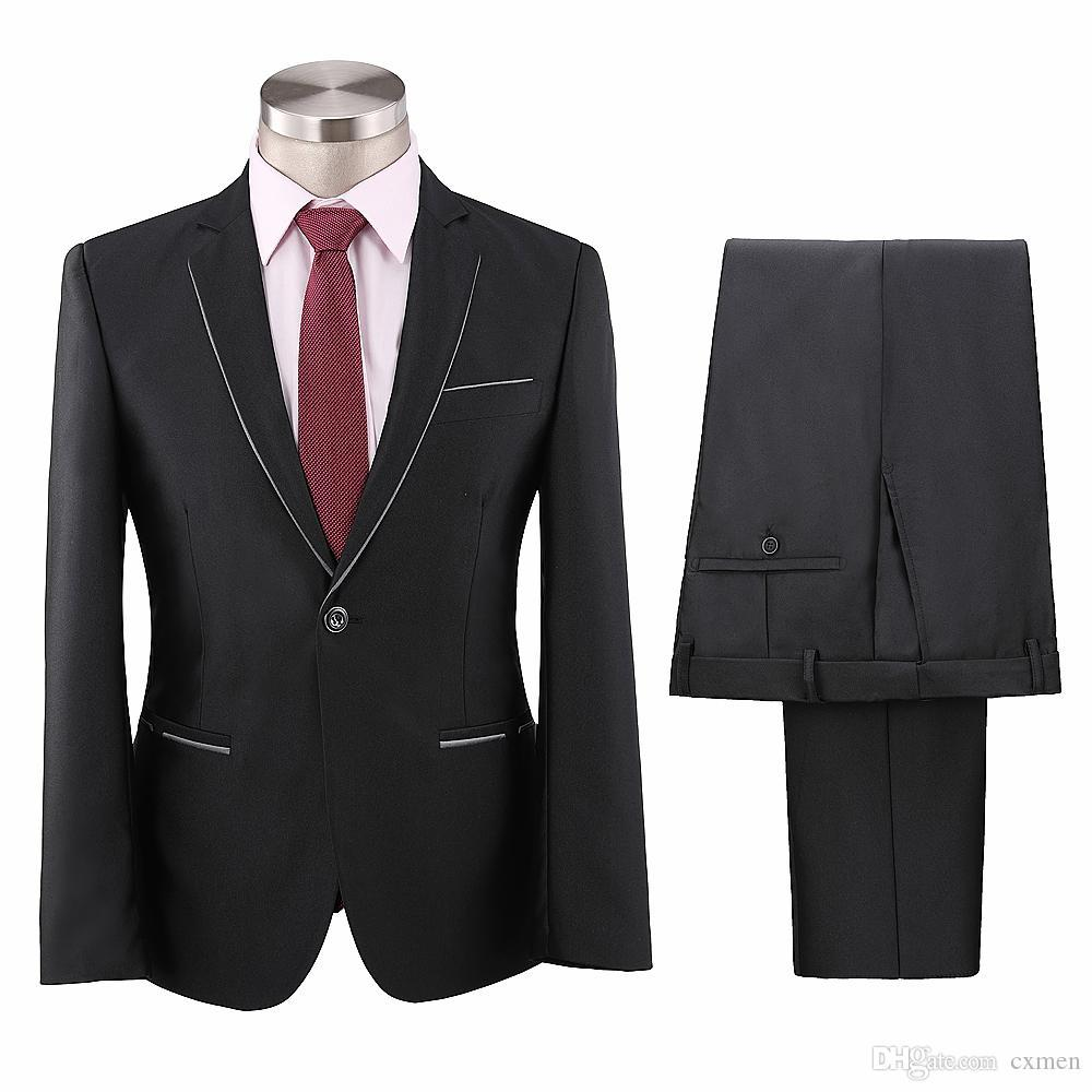 Custom Formal Business Black Men Suit Wedding Groom Suit Slim Fit Mens Blazer Handsome Tuxedos Skinny Men's Suit Party 2 Pieces Jacket+Pants