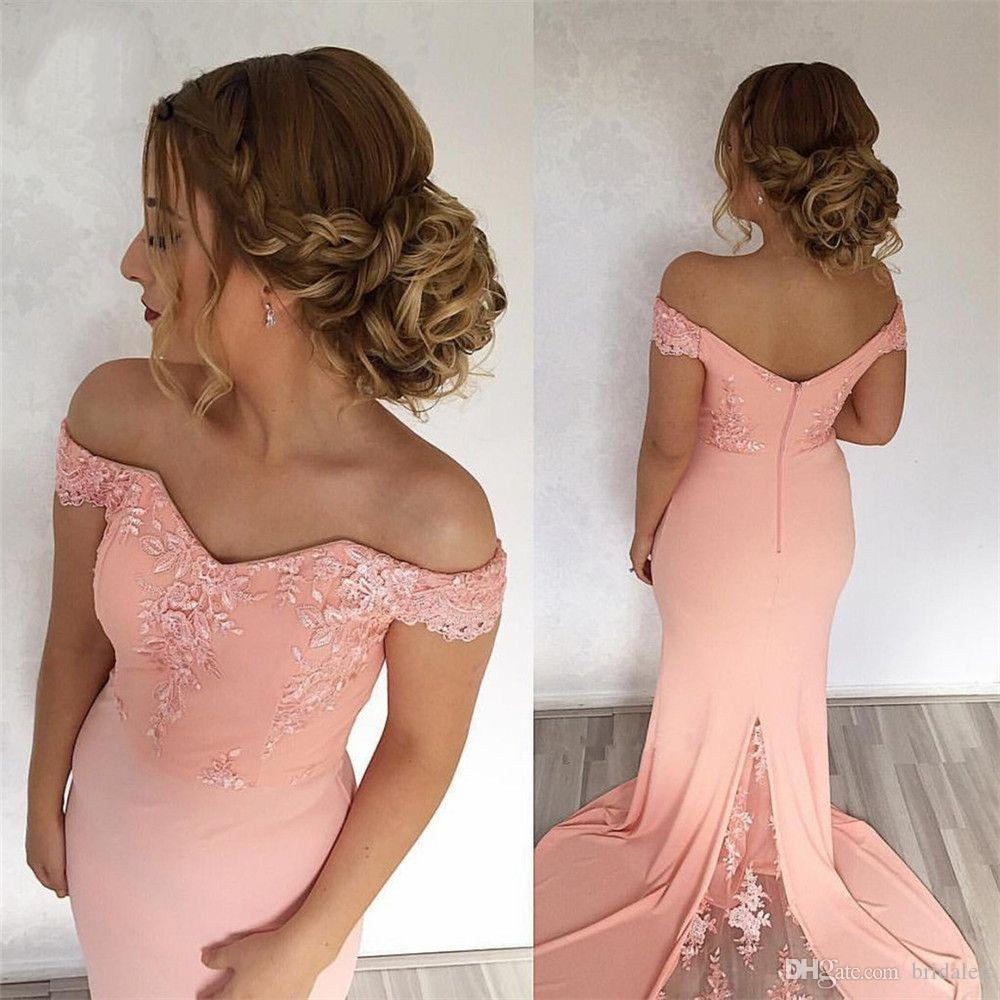 Off Shoulder Mermaid Prom Dresses Long with Lace Evening Gown Short Sleeve Sweep Train Satin Prom Dress Custom Made