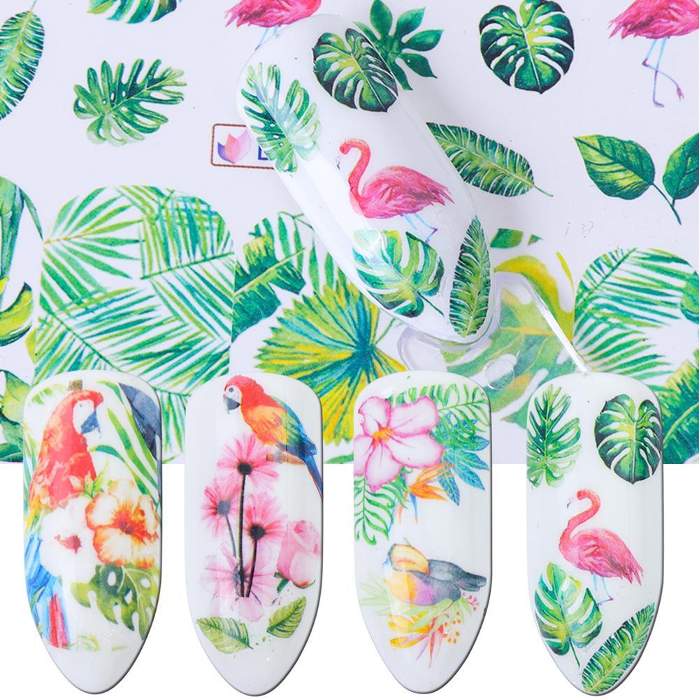 12pcs Flower Nail Sliders eau Decal Transfert autocollant Flamingo Rose Feuille d'art ongles adhésif bricolage Décorations Conseils JIBN865-876
