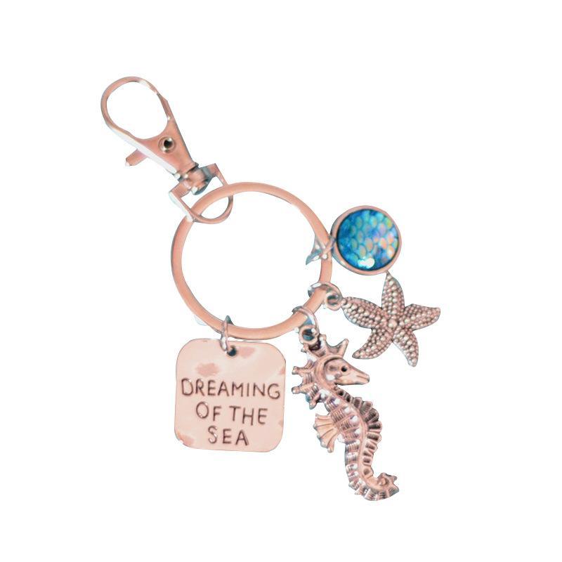 Ideal marinhos escamas de peixe Starfish hipocampo liga de resina chaveiro multicolor jóias moda liga opcional prata antiga