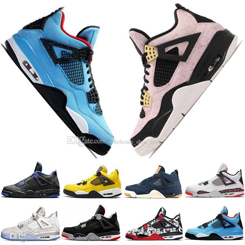 Sale 2019 Newest Bred 4 4s What The Cactus Jack Laser Wings Mens Basketball Shoes Denim Blue Pale Citron Men Sports Designer Sneakers 5.5-13