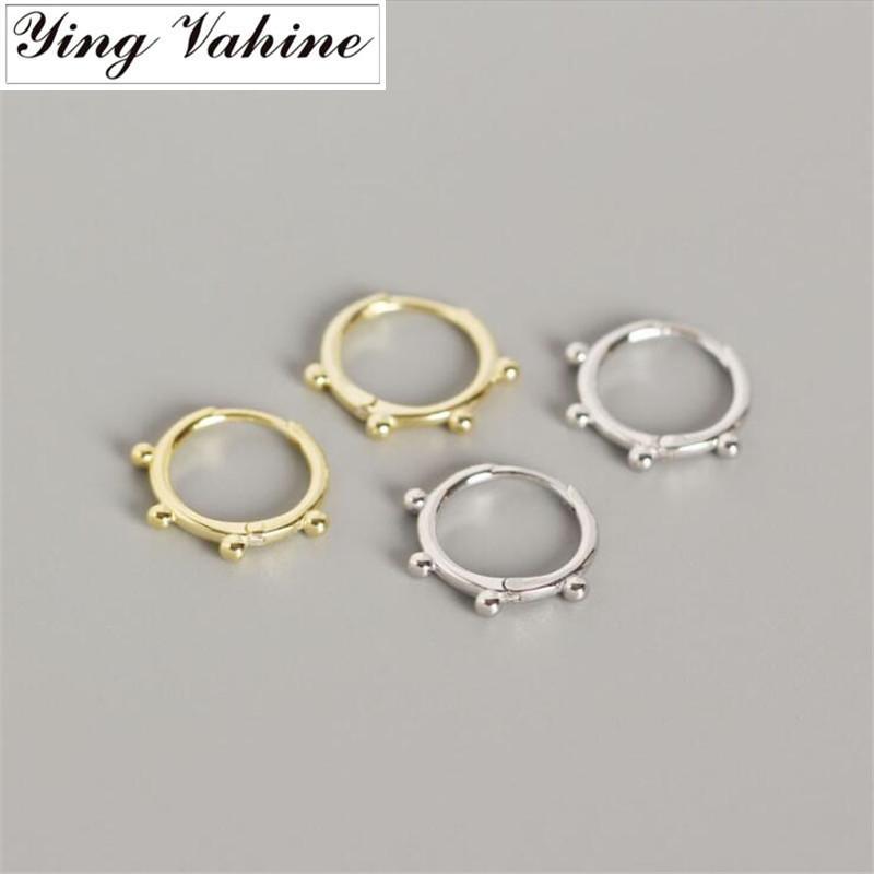 ying Vahine 100% 925 prata esterlina Pequenas grânulos de prata brincos para mulheres