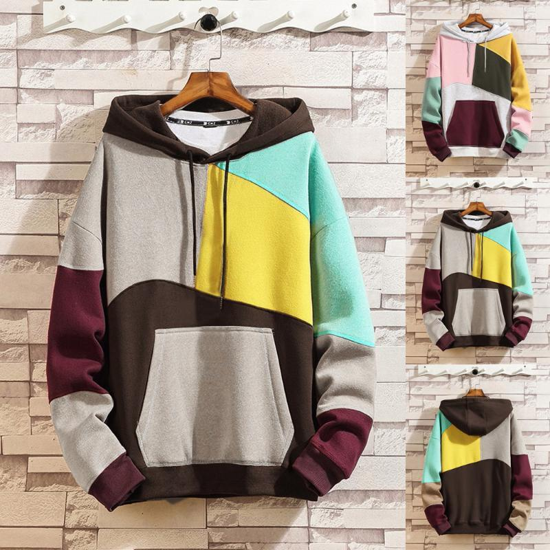 2020 neue Art-Hangs lose mit Kapuze lose Stitching Tide Trendy Color Matching Sweatshirt Paar Winter Frühling Sweatshirt