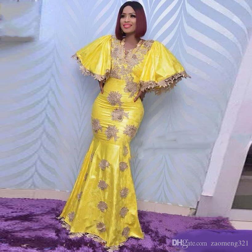 African Yellow Mermaid Abendkleider Aso Ebi mit V-Ausschnitt Appliques-Spitze plus Größen-Abschlussball-Kleid Dubai-Frauen-Kleid robe de Soiree