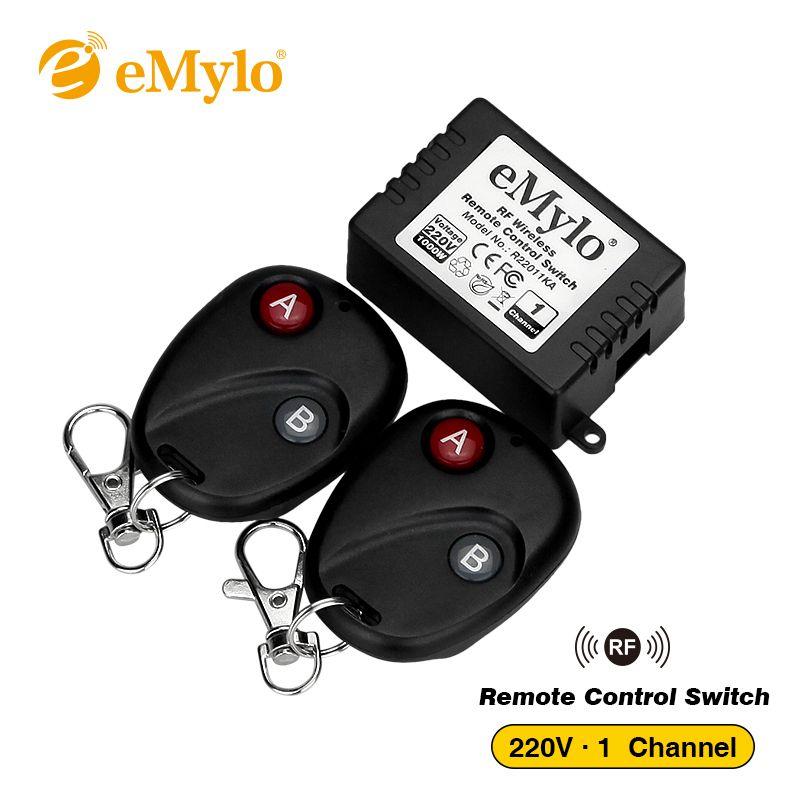 eMylo RF 무선 라이트 1 채널 릴레이 2 개 2 버튼 블랙 송신기 전환 T200605 원격 제어 스위치 220V-230V-240V 1000W 433