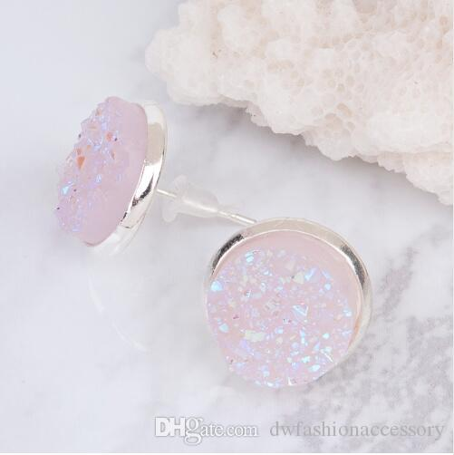Rose Gold Color Light of Pink Stud Earrings Round Zirconia Ear Stud Earings Jewelry