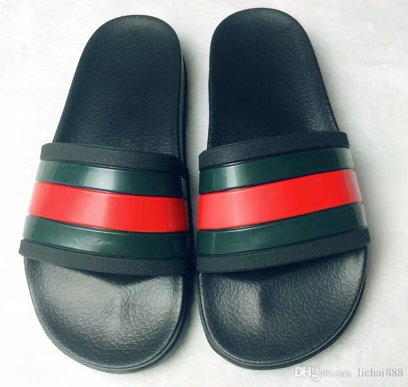 Diseñador de goma de la sandalia de la diapositiva Brocado floral de los hombres zapatilla Pantalones de chancletas Chanclas de las mujeres a rayas playa causal US6-11 # 020