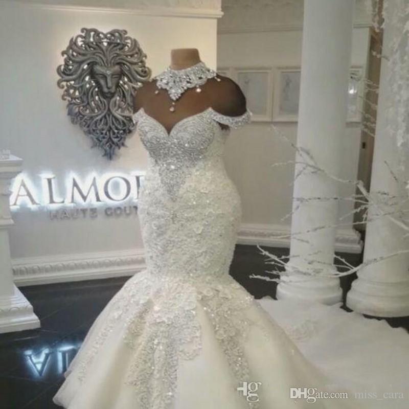 Luxury Dubai Arabic Mermaid Wedding Dresses Plus Size Beading Crystals Court Train Wedding Dress Bridal Gowns Custom Made
