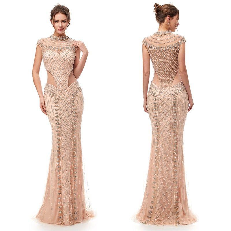 2020 luxe sirène sexy strass Prom Party robes Dubai Afficher Illusion Maxi robe robe de soirée robes de cristaux de soiréeTendance