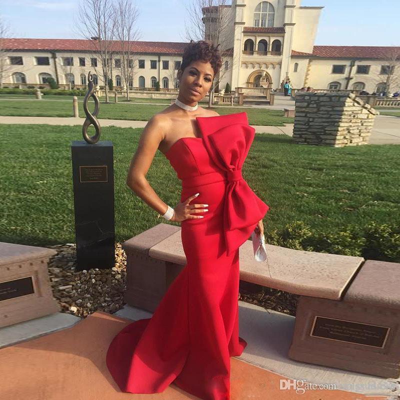 Простые красные платья выпускного вечера 2019 вечернее платье русалка развертки без бретелек спинки элегантные вечерние платья с бантом