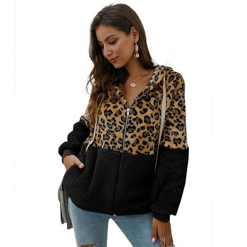 New Leopard-print motorcycle jacket fashionable leopard-print sweater patchwork coat black XL