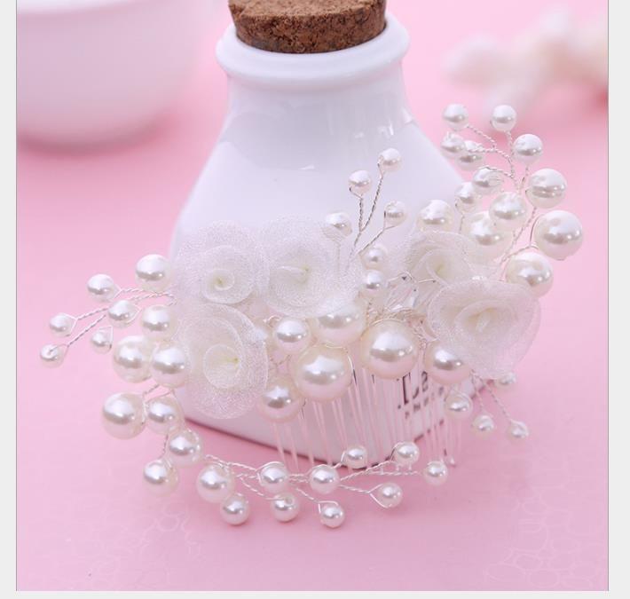 Branco coreano noiva cabelo cabelo pente ornamentos flores pérola noiva ornamentos