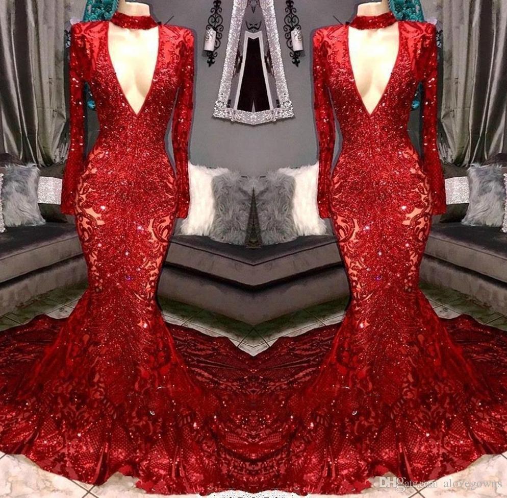 Hermosa sexy seco lentejuelas rojas 2019 vestidos de fiesta en V manga larga sirena vestido de noche vestido para mujeres vestido de fiesta brillante Robes de soirée