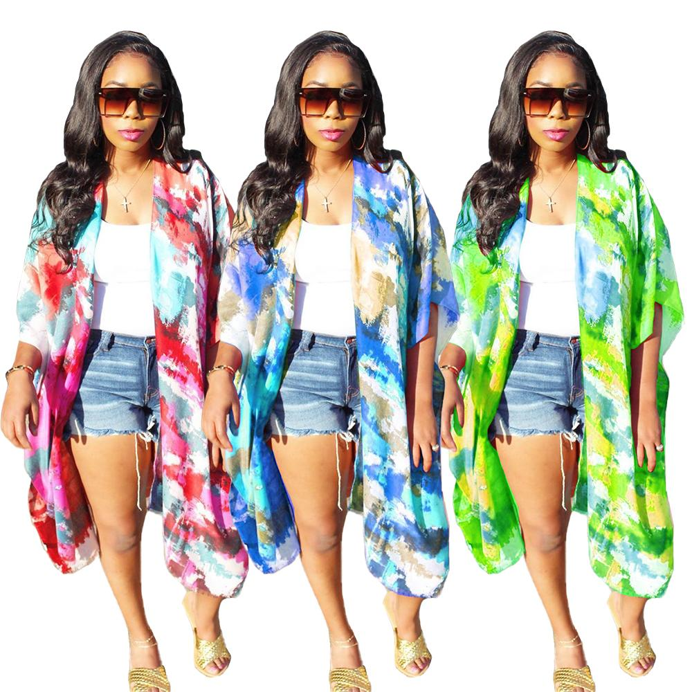 Summer Women Cardigans New Arrivals Ladies Half Sleeves Loose Style Long Coats Tie-dye Printed Coats Outwear Beach Holidays Real Image