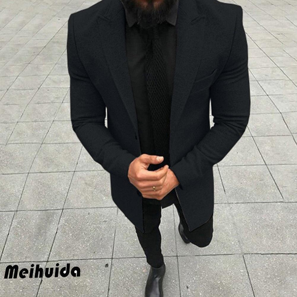 2019 New Fashion Gentlemens Trench Hommes Manteau Automne Hiver simple boutonnage coupe-vent Slim Trench hommes Plus Size