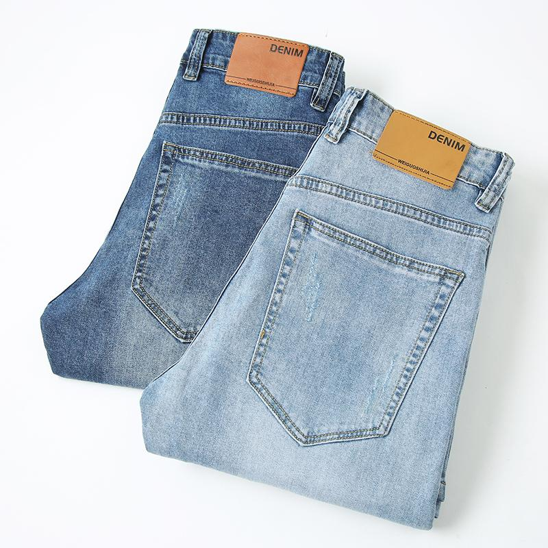2019 Jeans automne Pantalons coton Elasticité Jeans Skinny Business Casual Male Denim Pantalon Slim style classique bleu et bleu ciel