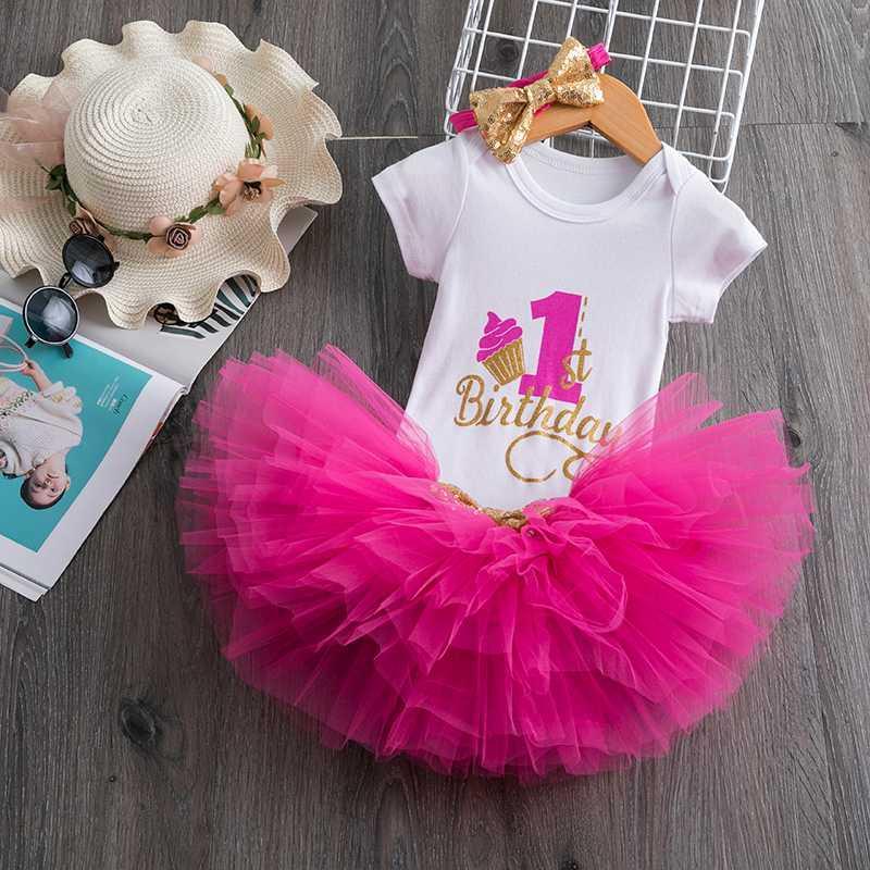 Младенческая одежда для девочек 1-й день рождения платье красное Рождество девушка пачка платья для 1 года Крещение Крещение события Vestido