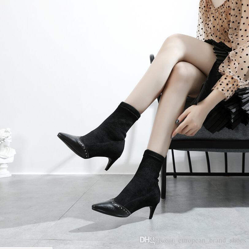 Новые европейские и американские кожаные овцы анти-бархатная мода указал тонкие каблуки стрейч женские сапоги