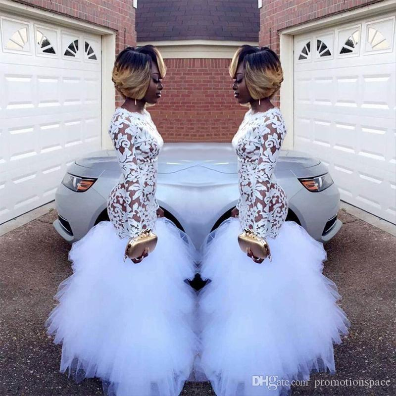 2019 African White Mermaid Lace Prom Kleider für Schwarze Mädchen Lange Ärmel Rüschen Tüll Bodenlangen Plus Size Abendkleider