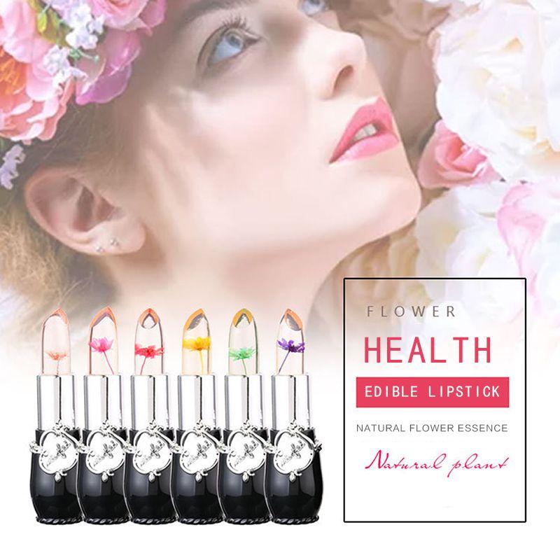 MINFEI Transparent Dried Flowers Jelly Lipstick Temperature Change Black Tube Long Lasting Waterproof Lips Makeup Moisturizing Lipsticks