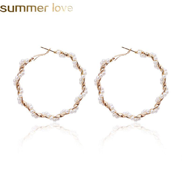 Fashion Pearl Hoop Earrings for Women Elegant Girls Exaggerates Oversize Circle Ear Rings Summer Beach Jewelry
