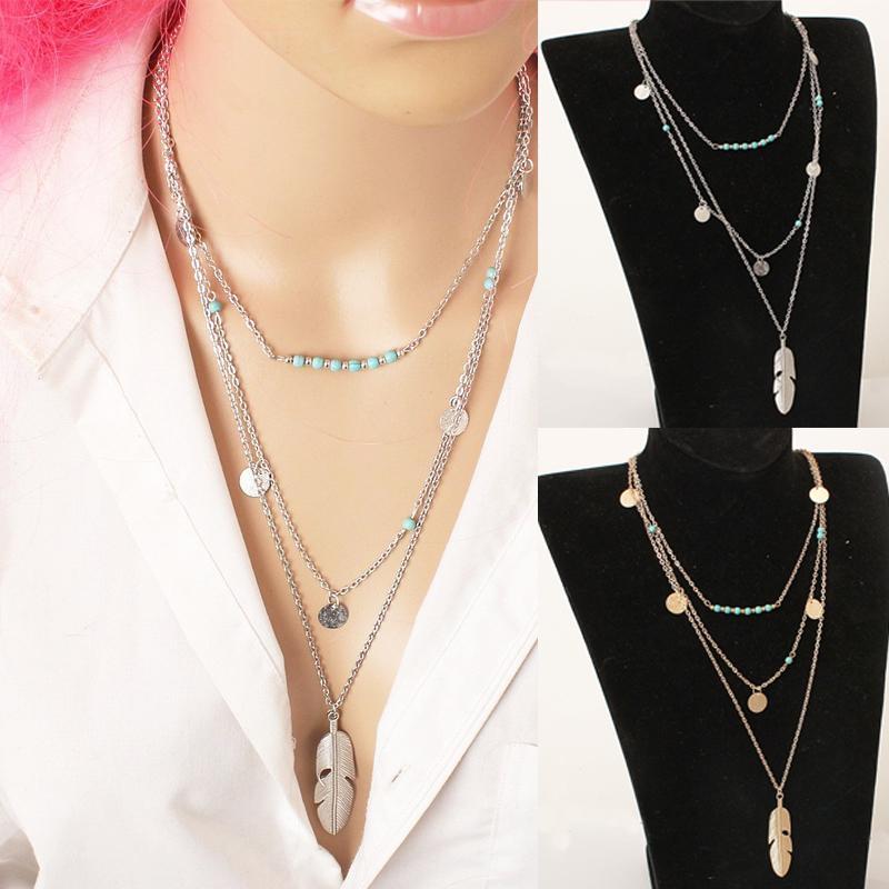 Mode chaud de couleur d'or Multilayer Coin Glands Lariat Bar Colliers Perles Choker plumes Pendentifs Colliers pour les femmes