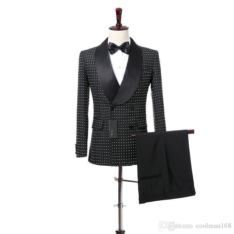 Черный белый dot жених смокинги двубортный мужчины свадебные смокинги Шаль отворотом куртка блейзер популярные мужчины ужин/Darty костюм(куртка+брюки+галстук)2