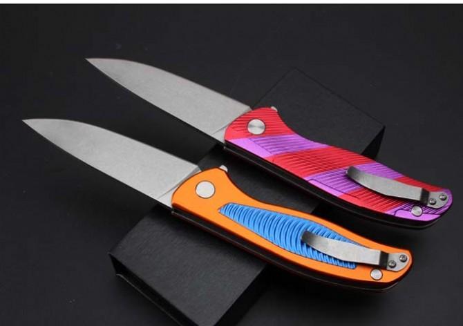 Shirogorov Phoenix Tail aluminum handle 9CR18MOV stone wash G10 58-60HRC folding knife pocket camping survival hunting knife xmas gift a1216