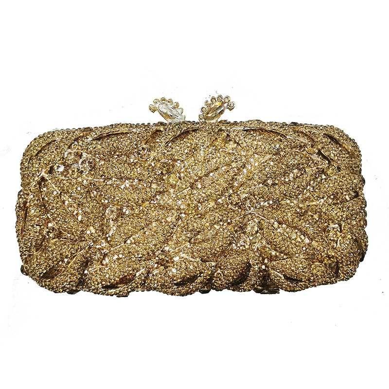 Bolsas Rhinestone Clutch Oro Bolsa Nuevo 100% Monedero hecho a mano Mujer Bolso CRISTAL Diamante Banquete Femenino Tarde Hombro Moda TEPGT