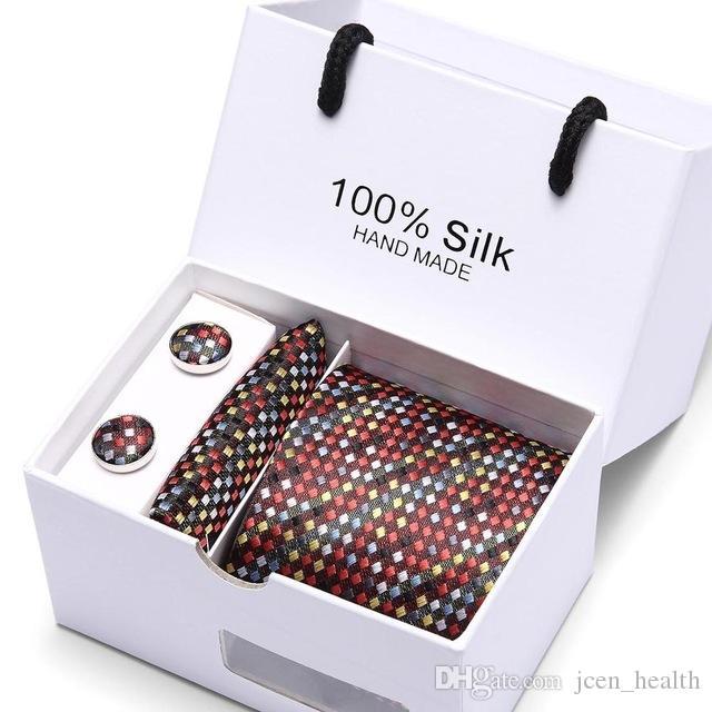 2019 mens tie set di moda cravatte di seta jacquare cravatte per gli uomini legano fazzoletto gemelli di scatola regalo imballaggio accessori abbigliamento mano maschile