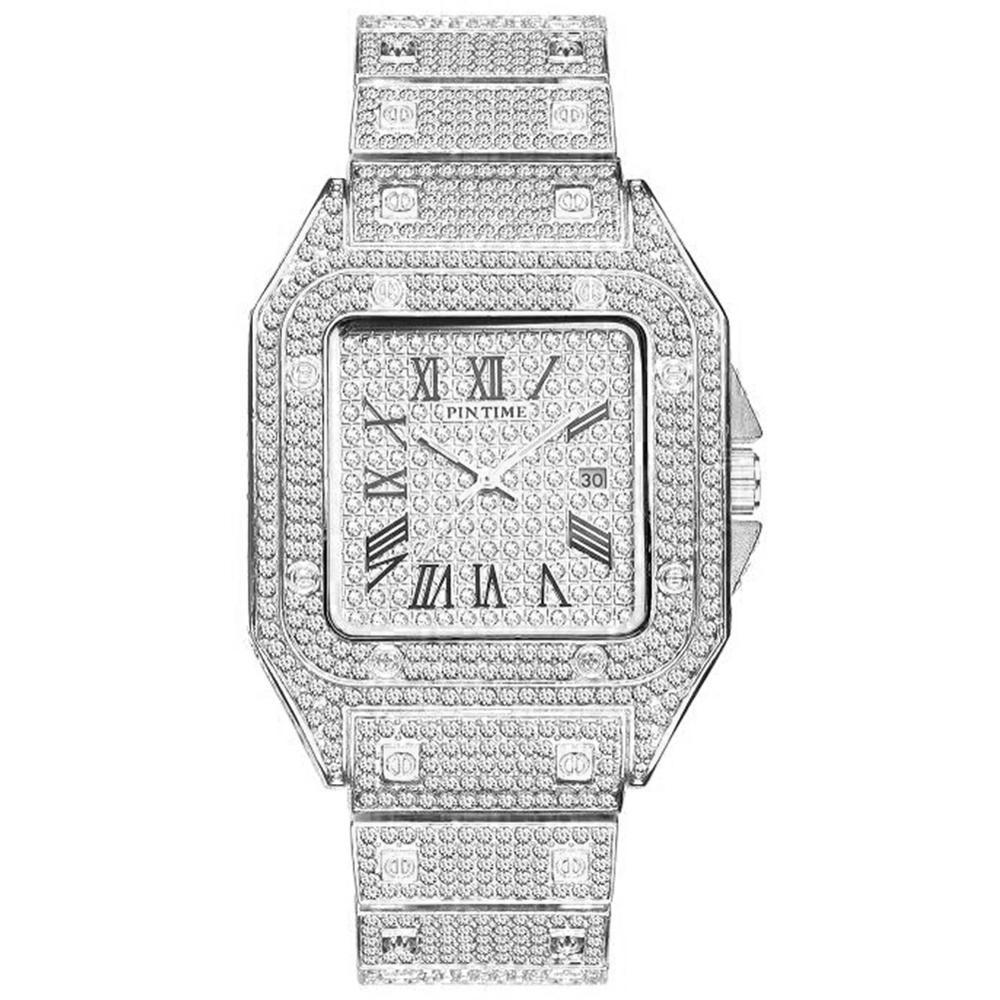 Hip Hop Glacé Montre Homme Quartz Place diamant Hommes Montres d'or calendrier romain en acier Horloge Relogio Masculino