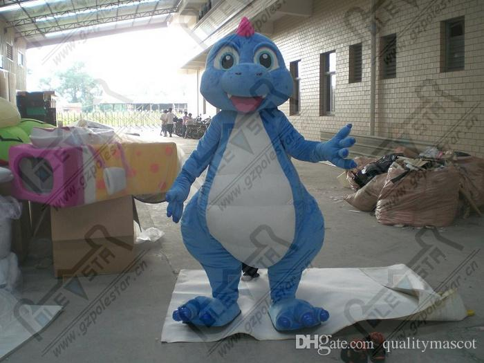 de color azul claro de dinosaurios bebé trajes de la mascota linda sonrisa trajes cara de dragón TRAJES POLE mascota de la estrella