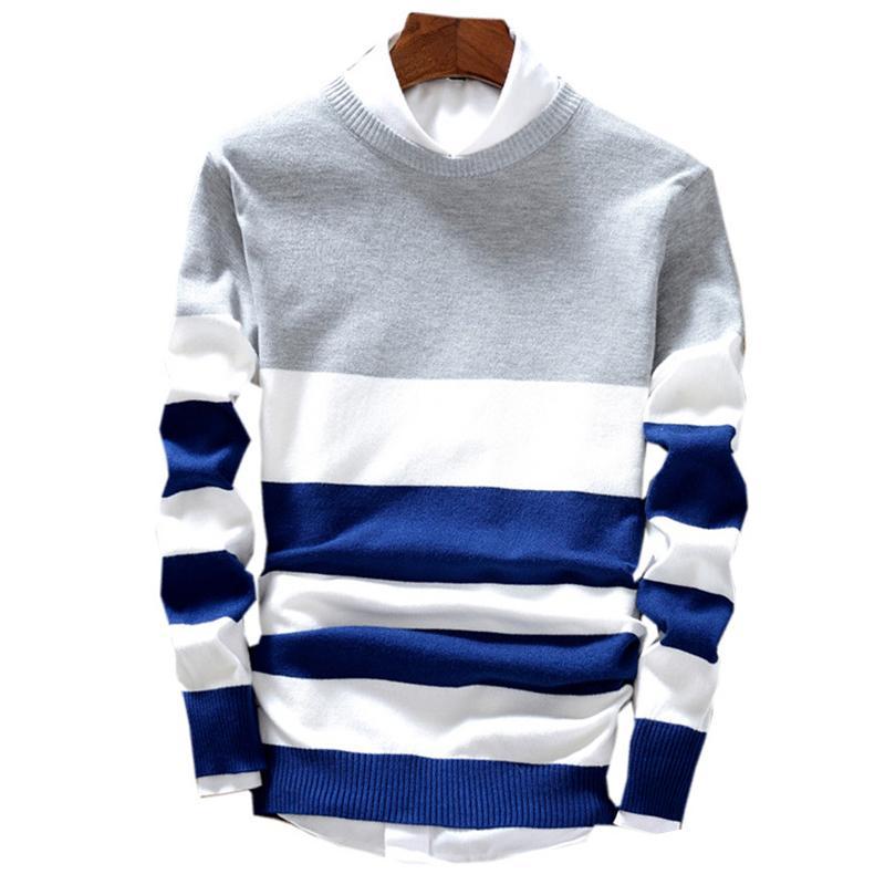 Maglione Degli Uomini Vestiti Coreano Vestiti Pullover Lavorato A Maglia di modo 2020 Nuovo Arrivo Ropa Giapponese A Righe O-Collo Casual
