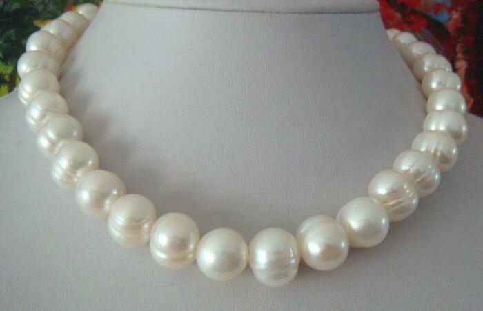 Jewelryr Pérola Colar CLASSIC natural 10-11mm mar do sul colar de pérolas brancas 18 polegadas 14 K Frete Grátis