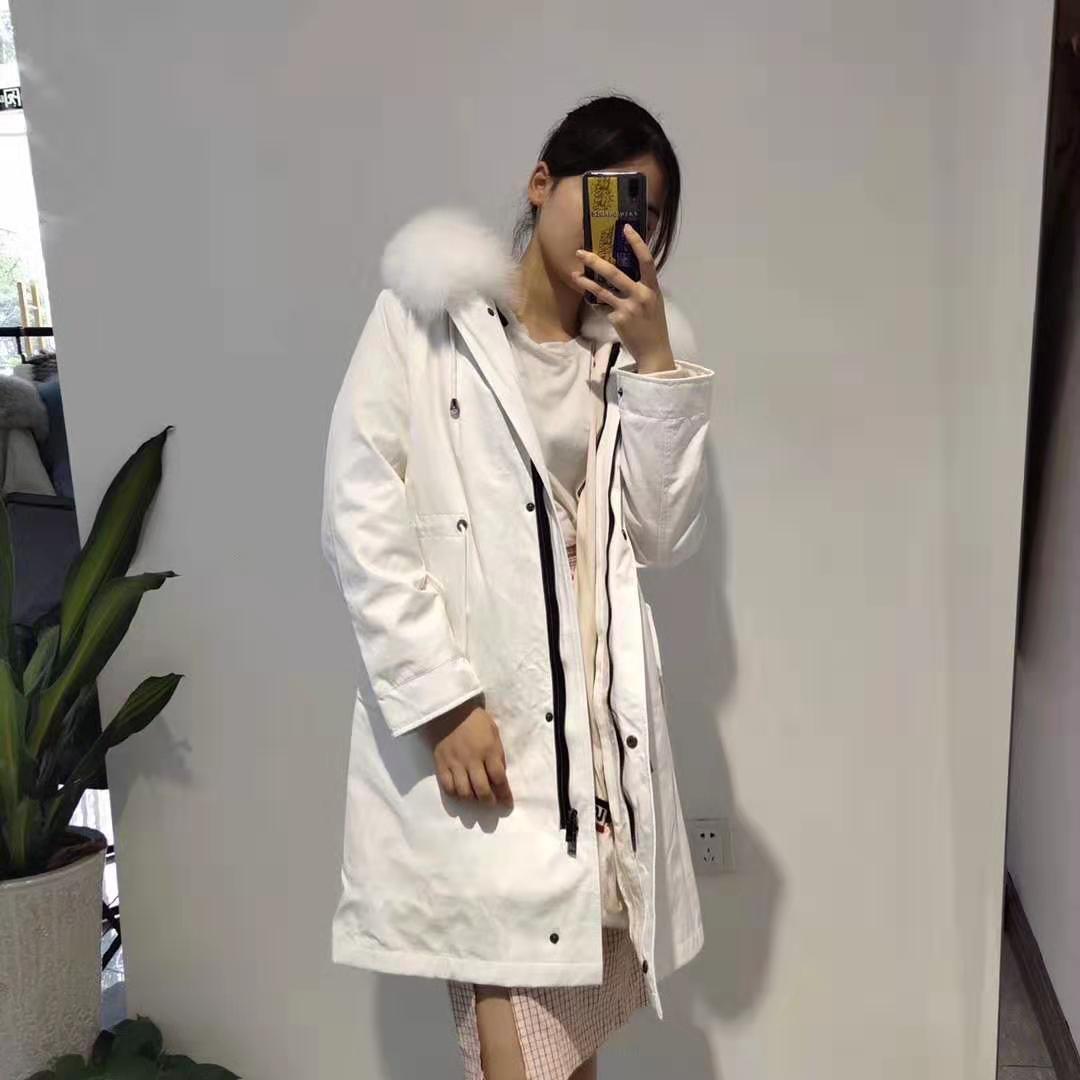Venda quente de peles de Mukla marca de pele de coelho branco forrado branco longo mulheres jaquetas com ykk zíper branco pele de raposa guarnição longa parka inverno menina