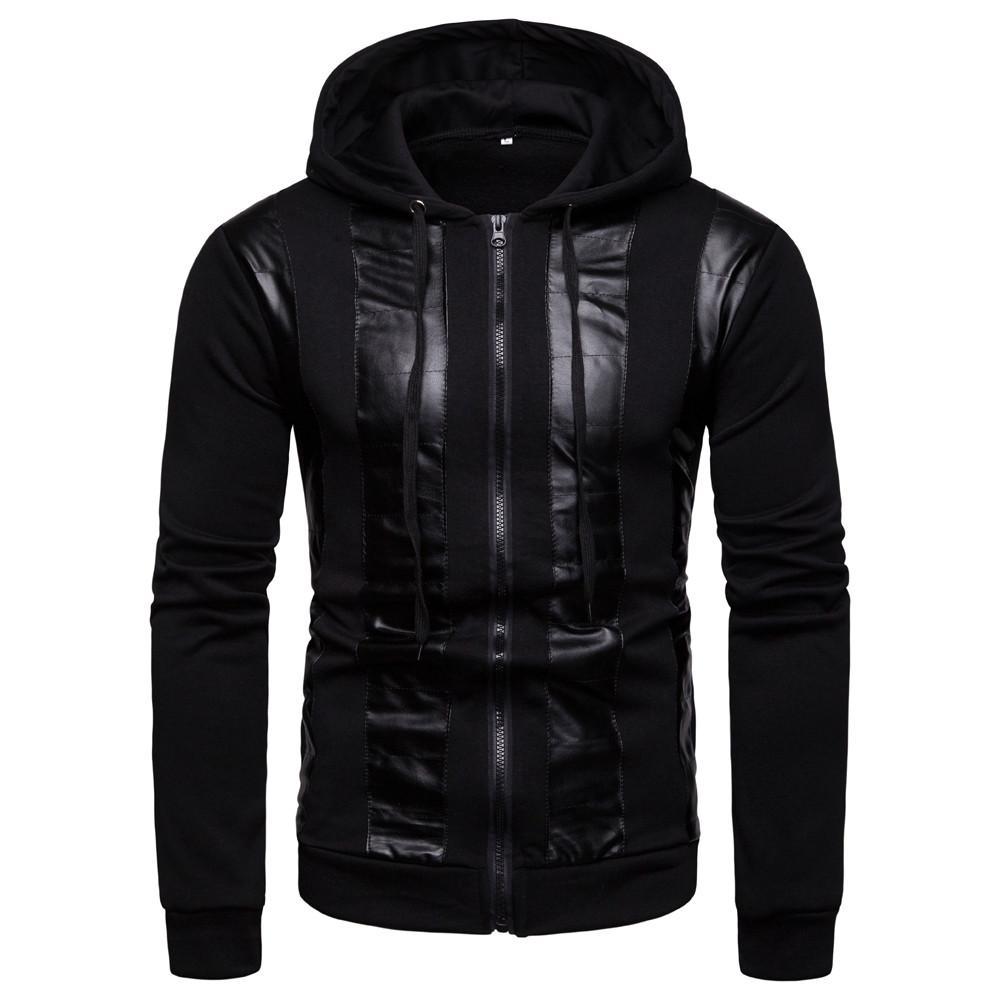 JAYCOSIN homens outono e inverno novo casual camisola com capuz moda costura jaqueta de fita outono e inverno transporte