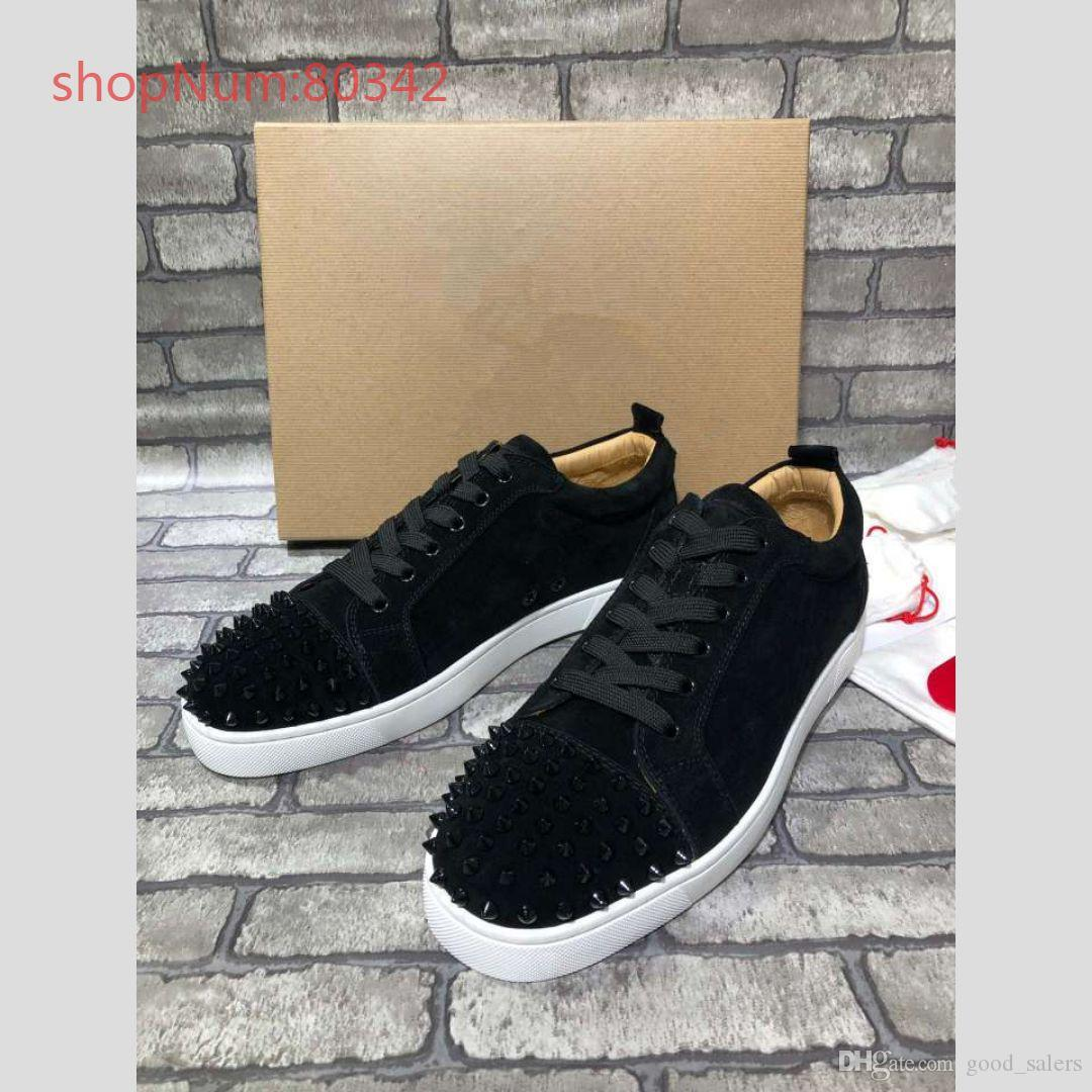 Alta qualidade de Moda de Nova casais Shoes Mulheres Mens couro preto de Spike Rivet Casual calça as sapatilhas sapatilhas do desenhista de luxo baratos