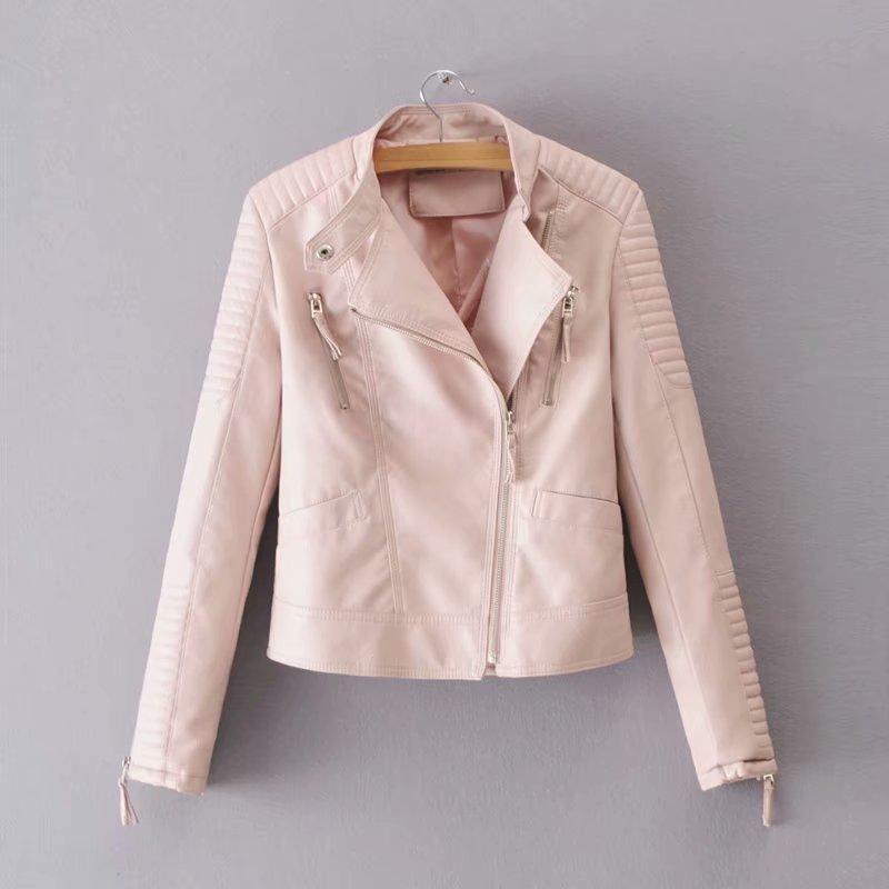 2019 New Fashion Boyfriend Style Women 오토바이 Pu Leather Jacket Pink Blue Slim Fit Autumn Outerwear 암 펑크 Biker Jacket