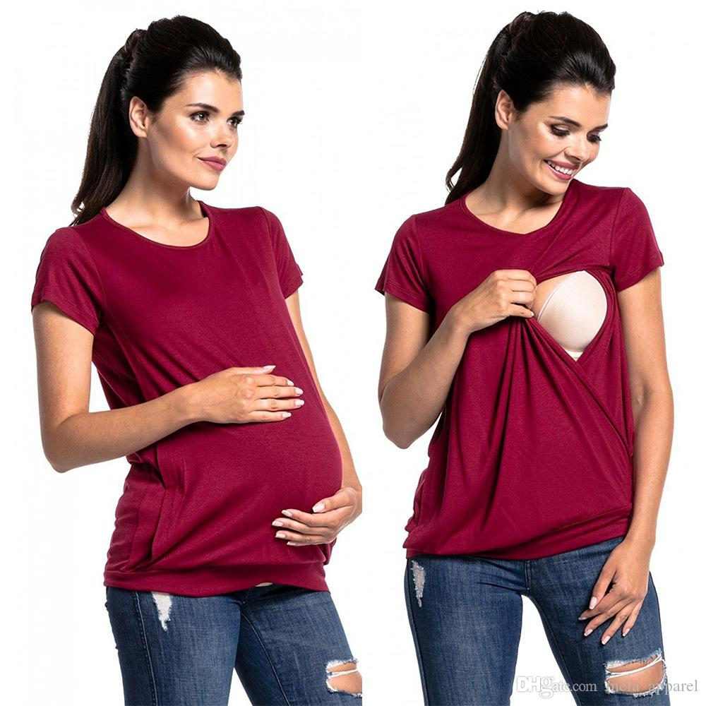 Kadın Doğum Gebelik Katlama Hemşirelik Bebek Emzirme Kısa Kollu Tişört haut grossesse yaz kore moda kadın giyim Tops