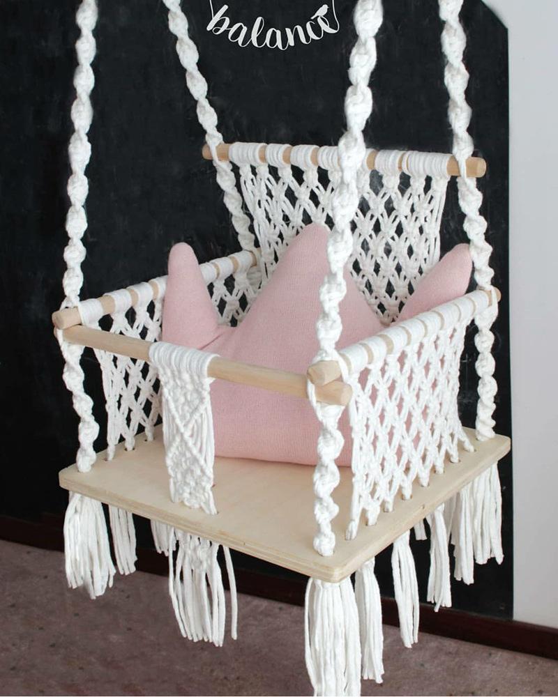 Дети дети качели стул Nordic стиль гамака безопасная бежевая висит гамак стул кровать одноместный стул стул открытый крытый сад