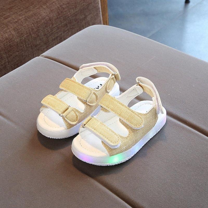 Meninos de verão Sandálias Childrens LED Light calçados das meninas Praia Shoes oco Out respirável suave inferior da menina da criança Sandals ACJT #
