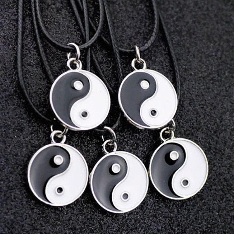 Lotto 10 pz moda donna uomo Taoismo Tai Chi yin yang collana pendente di fascini all'ingrosso HJ08