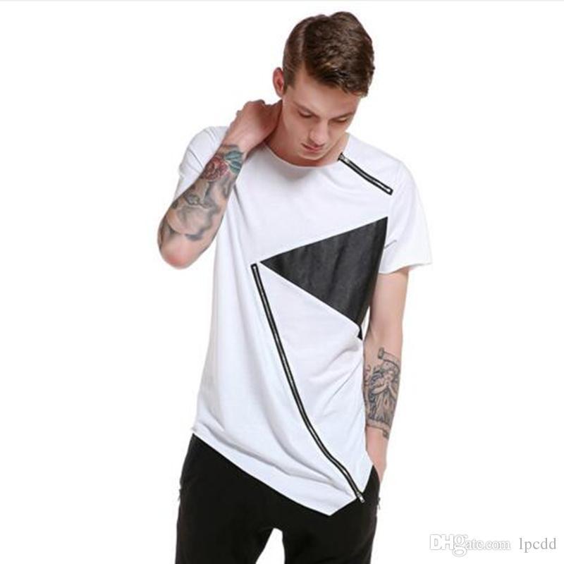 Homens personalidade assimétrica inclinado design com zíper t-shirt boate hiphop punk camisetas tops mens verão hip hop tshirt homme